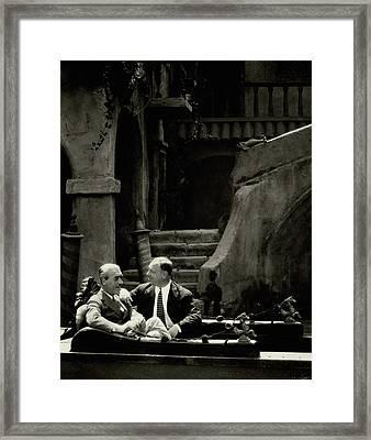 Mauritz Stiller And Emil Jannings On A Gondola Framed Print by Arnold Genthe
