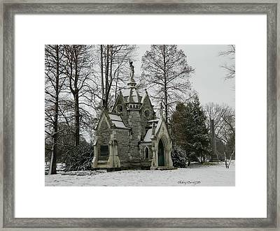 Mausoleum In Winter Framed Print by Kathy Barney