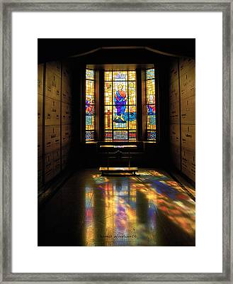 Mausoleum Stained Glass 06 Framed Print by Thomas Woolworth
