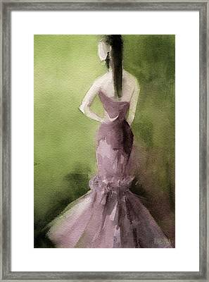 Mauve Evening Gown Fashion Illustration Art Print Framed Print by Beverly Brown