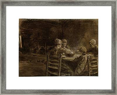 Max Liebermann, German 1847-1935, East Frisian Peasants Framed Print by Litz Collection