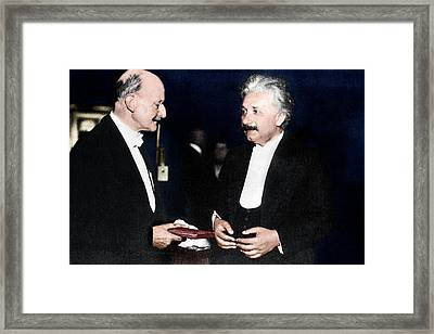 Max Planck And Albert Einstein Framed Print by Science Photo Library