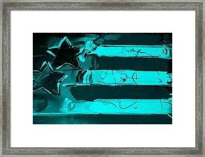 Max Stars And Stripes In Turquois Framed Print by Rob Hans