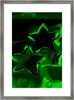 Max Two Stars In Green Framed Print by Rob Hans
