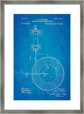 Maxim Explosives Patent Art 1890 Blueprint Framed Print by Ian Monk