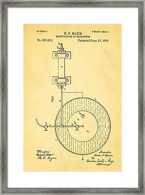 Maxim Explosives Patent Art 1890 Framed Print