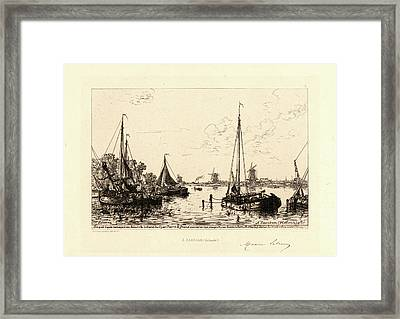 Maxime Lalanne French, 1827 - 1886. À Zaandam Hollande Framed Print by Litz Collection