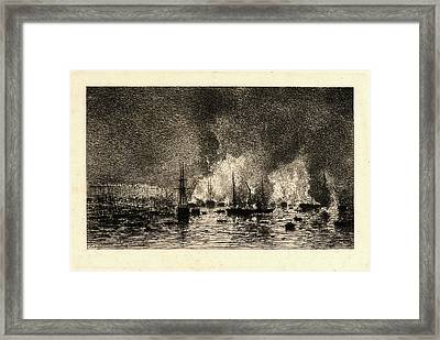 Maxime Lalanne French, 1827 - 1886. Fire In The Port Framed Print by Litz Collection