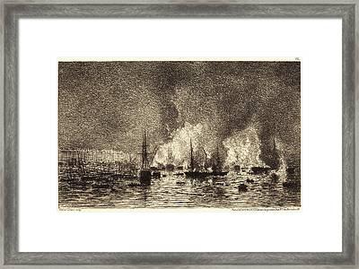 Maxime Lalanne, French 1827-1886, Incendie Dans Le Port De Framed Print by Litz Collection