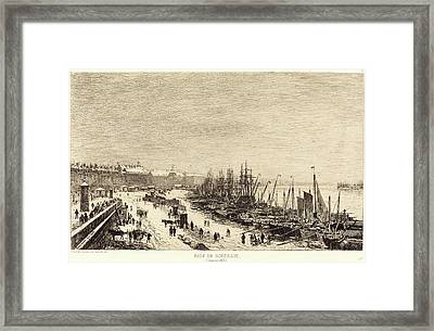 Maxime Lalanne, French 1827-1886, Rade De Bordeaux Framed Print by Litz Collection