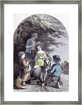 May G.w. Willis Children Goat Pastoral Spring Framed Print