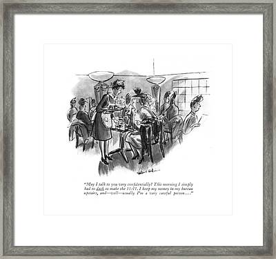 May I Talk To You Very Con?dentially? This Framed Print by Helen E. Hokinson