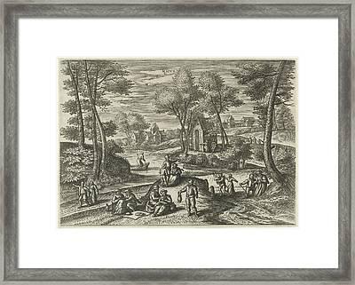 May, Julius Goltzius, Gillis Mostaert Framed Print by Julius Goltzius And Gillis Mostaert (i) And Hans Van Luyck