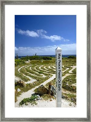 May Peace Prevail On Earth Peace Labyrinth Aruba Framed Print by Amy Cicconi