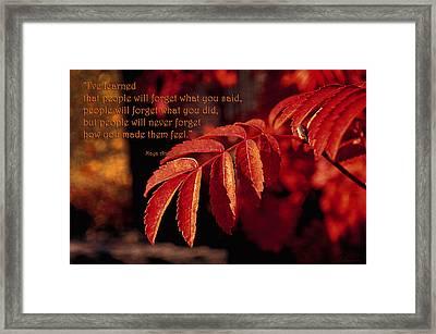 Maya Angelou - I've Learned Framed Print by Maria Angelica Maira