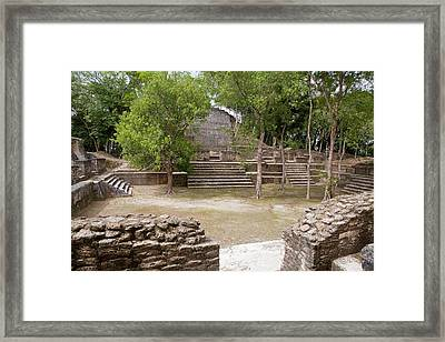 Maya Plaza And Temple Framed Print by Jim West