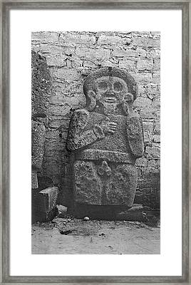 Mayan Carved Statue Framed Print by American Philosophical Society