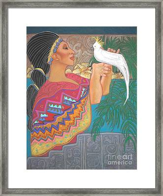 Mayan Goddess With Cockatoo Framed Print by Pamela Mccabe