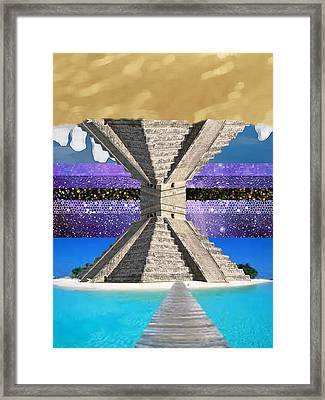 Mayan Temple Ships On 2 Worlds At Once Framed Print by Bruce Iorio