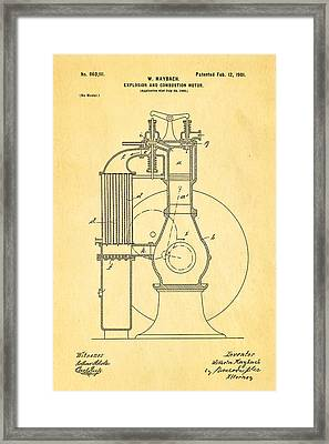 Maybach Internal Combustion Engine Patent Art 1901 Framed Print by Ian Monk