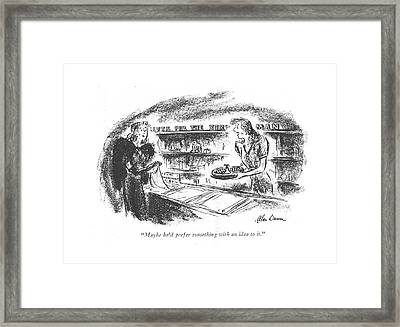Maybe He'd Prefer Something With An Idea To It Framed Print by Alan Dunn