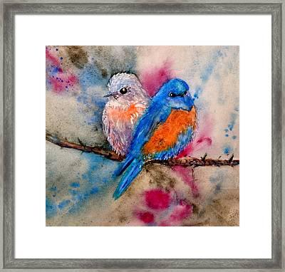 Maybe She's A Bluebird Framed Print by Beverley Harper Tinsley