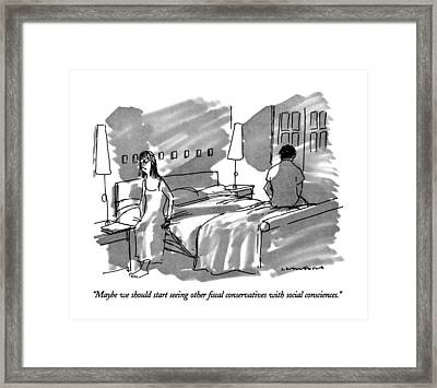 Maybe We Should Start Seeing Other Fiscal Framed Print by Michael Crawford