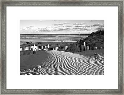 Mayflower Beach Black And White Framed Print