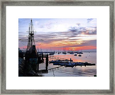 Mayflower II At Sunrise Framed Print by Janice Drew