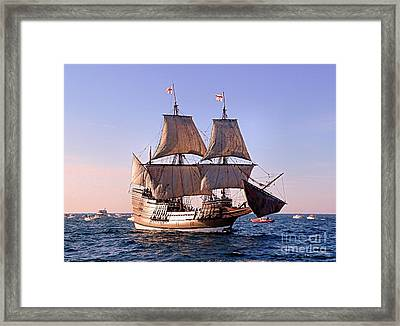 Mayflower II On Her 50th Anniversary Sail Framed Print