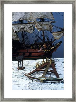 Mayflower Model With Quadrant Framed Print by Fred Maroon