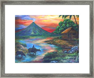 mayon sunset-repro from Amorsolo's work Framed Print by Manuel Cadag