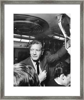 Mayor Lindsay Rides The Subway Framed Print by Underwood Archives