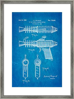 Maywald Toy Cap Gun Patent Art 1953 Blueprint Framed Print