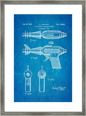 Maywald Toy Cap Gun Patent Art  2 1953 Blueprint Framed Print