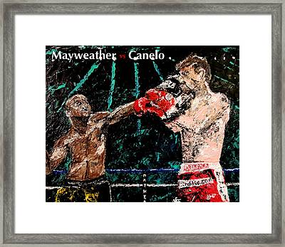 Mayweather Vs Canelo Framed Print by Mark Moore