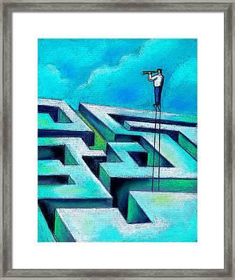 Maze Framed Print by Leon Zernitsky