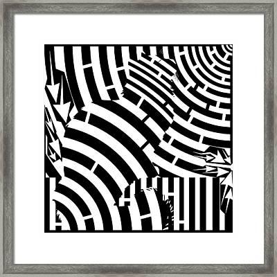 Maze Of Cat On Fence Op Art Framed Print by Maze Op Art Artist