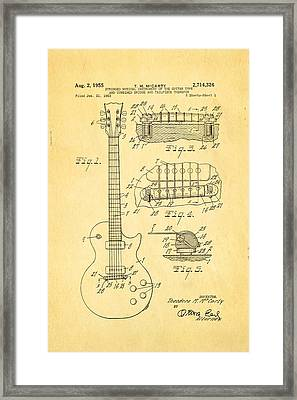 Mccarty Gibson Les Paul Guitar Patent Art 1955 Framed Print