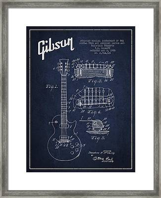 Mccarty Gibson Les Paul Guitar Patent Drawing From 1955 - Navy Blue Framed Print by Aged Pixel