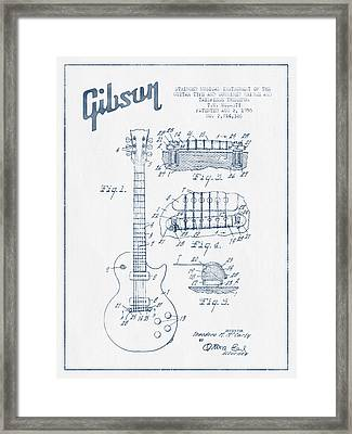 Mccarty Gibson Les Paul Guitar Patent Drawing From 1955 - Blue I Framed Print by Aged Pixel