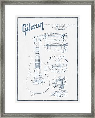 Mccarty Gibson Stringed Instrument Patent Drawing From 1969 - Bl Framed Print by Aged Pixel
