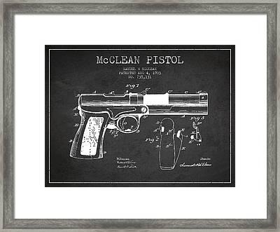 Mcclean Pistol Drawing From 1903 - Dark Framed Print