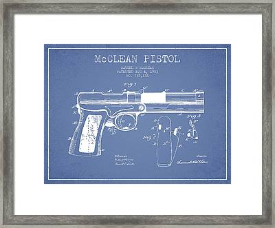 Mcclean Pistol Drawing From 1903 - Light Blue Framed Print by Aged Pixel