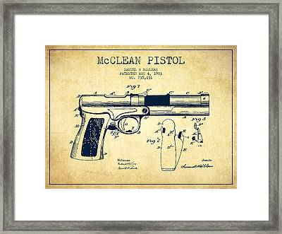 Mcclean Pistol Drawing From 1903 - Vintage Framed Print