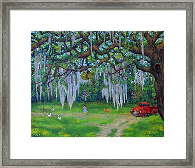 Mcclellanville Goose Chase Framed Print by Dwain Ray