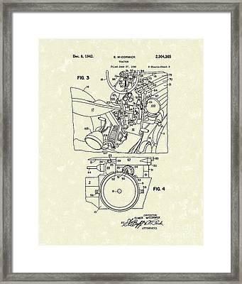 Mccormick Tractor 1942 Patent Art Framed Print