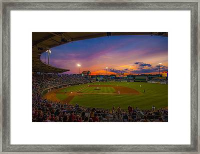 Mccoy Stadium Sunset Framed Print by Tom Gort