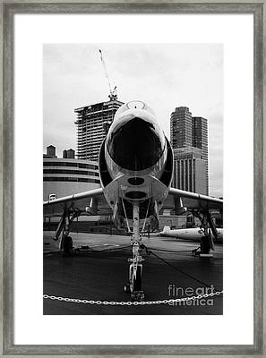 Mcdonnell F3h 2n F3b F3 Demon On The Flight Deck On Display At The Intrepid Sea Air Space Museum Framed Print