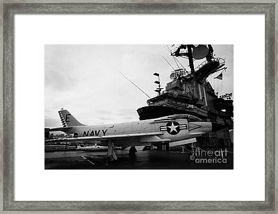 Mcdonnell F3h2n F3b F3 Demon On The Flight Deck On Display At The Intrepid Sea Air Space Museum Framed Print by Joe Fox